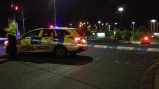 Police cordon on Junction 16 eastbound M8 slip road