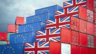 Containers bearing the Union Jack and the EU flag