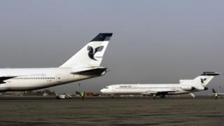 Iran Air aircraft on the tarmac at Tehran