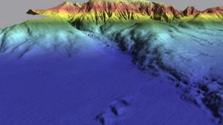 Imagem mostra a Planície Abissal da Ferradura destacada