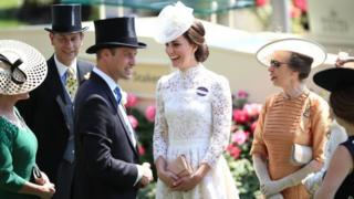 The Duchess of Cambridge with Prince Edward (left), Princess Anne (right) and Prince William