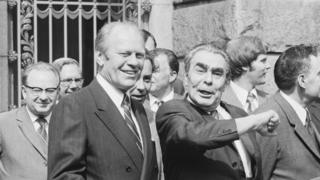 President Gerald Ford and Soviet leader and Communist Party chief Leonid Brezhnev in Vladivostok on Nov. 24, 1974.