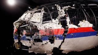 The wreckage of the cockpit of flight MH17
