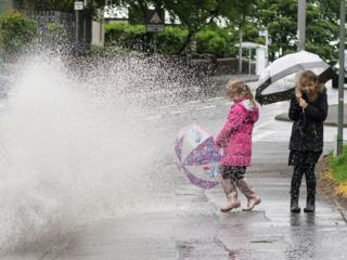 Children being splashed by puddle