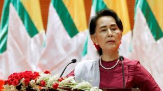 Myanmar State Counselor Aung San Suu Kyi delivers a speech to the nation over Rakhine and Rohingya situation, in Naypyitaw, Myanmar September 19, 2017
