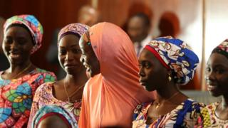 Some of the 21 Chibok girls who were released in October 2016