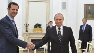 Umukuru w'igihugu ca Syria, Bashar al-Assad n'uw'Uburusiya, Vladimir Putin
