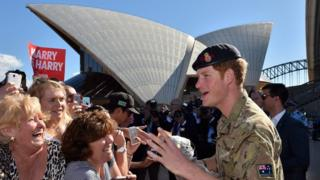 Prince Harry outside the Sydney Opera House in 2015
