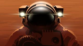 Ilustração que mostra capacete e visor obscurecido de astronauta