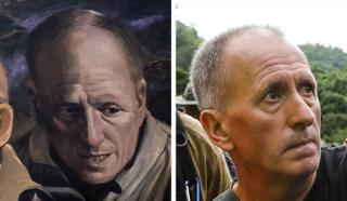 A mural image of Vernon Unsworth on the left side and a photo of Vernon Unsworth on the right side
