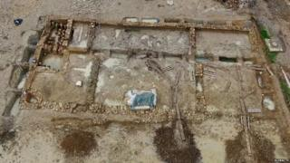 An aerial shot of the Roman villa at Cam