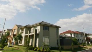 A row of suburban houses