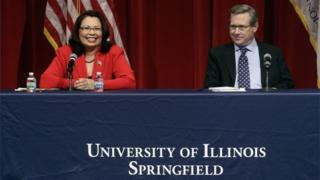 Republican US Sen. Mark Kirk, and Democratic US Rep. Tammy Duckworth face off in their first televised debate.