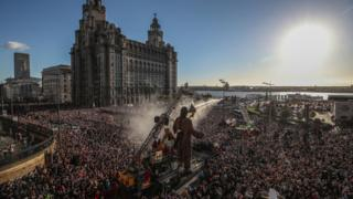 Crowds on Liverpool Waterfront