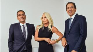 Donatella Versace with Versace chief Jonathan Akeroyd (left) and Michael Kors chief executive John Idol