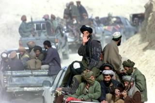 File photo of Taliban fighters in northern Afghanistan 2001