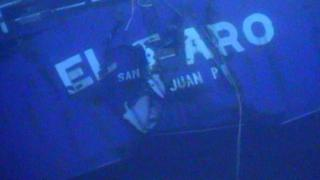 The stern of the El Faro seen from the sea floor