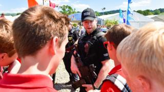 Armed police at the Hay Festival