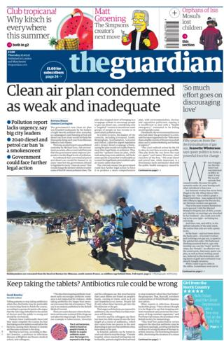 Guardian front page - 27/07/17