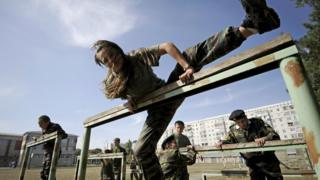 Russian cadets train in the southern city of Stavropol.
