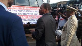 Paul Atanga Nji and partners as trucks di leave Yaounde