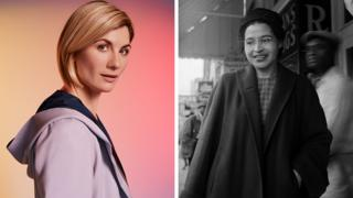 Jodie Whittaker as the Doctor (left) and Rosa Parks (right)