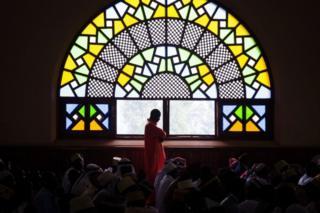 Muslim worshipers attend prayer at the Uganda National Mosque in Kampala, Uganda, on 4 June.