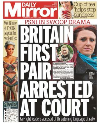 Front page of the Daily Mirror, Friday 15 December 2017