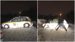 Поліцейська машина зі снігу