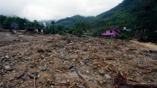View of the community of Tlaola, Puebla in eastern Mexico on August 7, 2016 in the wake of Tropical Storm Earl. L