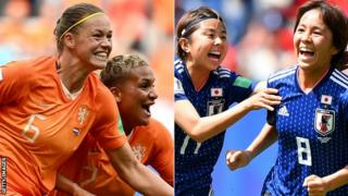 Netherlands players celebrate (left) and Japan players celebrate (right)