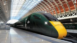A new train due to run on the electrified line between Cardiff and London