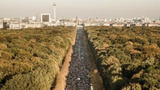 March in central Berlin towards the Brandenburg Gate - 13 October