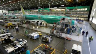 Boeing 737-800 airplanes are on the assembly line at Boeing's 737 assembly facility in Renton, Washington