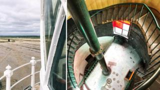 View from the top of Orfordness Lighthouse in 2018 and looking down from the spiral staircase towards the