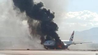 BA plane on fire at Las Vegas airport. Photo: 8 September 2015