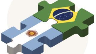 Ilustração mostra duas peças de quebra-cabeça encaixadas, uma estampando bandeira argentina e outra brasileira