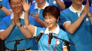 Hung Hsiu-chu, Taiwan presidential candidate from the ruling Kuomintang (KMT), waves during the party congress in Taipei on 19 July