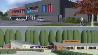Artist impressions of Gwenfro (top) and Hafod y Wern schools