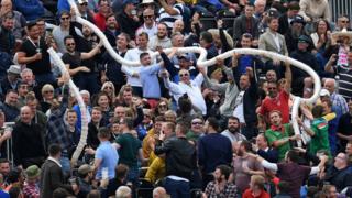 "A ""beer snake"" at Old Trafford"