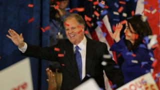 Democratic Alabama U.S. Senate candidate Doug Jones and wife Louise acknowledge supporters at the election night party in Birmingham, Alabama, U.S., December 12, 2017.