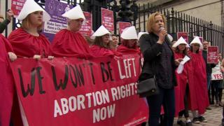 Pro-choice protesters outside Laganside Courts