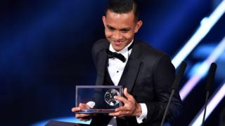 Mohd Faiz Subri of Malaysia delivers a speech during 'The Best FIFA Football Awards' in Zurich, Switzerland