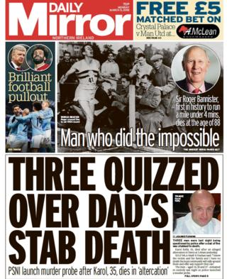 Daily Mirror front page Monday 5 March