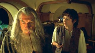 "Scene from the movie ""The Lord of the Rings: The Company of the Movie"" The Ring ""with Ian McKellan as Gandalf with Elijah Wood as Frodo"