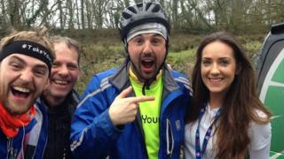 Charity cyclist with Jamie McDonald second from right with Gemma Lloyd