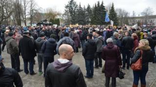 Акция протеста в городе Бобруйск, Белоруссия, 12 марта 2017 года