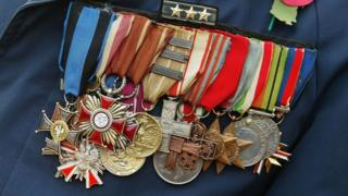 Medals worn by a veteran on Remembrance Sunday