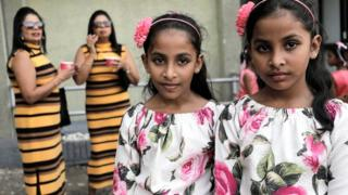 Twins pose for photographs at the Sri Lanka Twins event in Colombo, Sri Lanka, on 20 January 2020