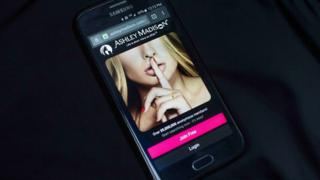 Ashley Madison site on a smartphone